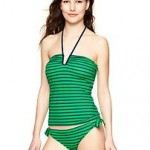 Stripey Bandeau Tankini & Printed Side-Tie Bikini (blue & green stripe) Gap