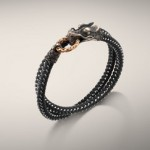 NAGA COLLECTION Double Wrap Bronze Ring Bracelet on Black Nylon Cord 6mm. All in Sterling Silver & Bronze. John Hardy $350