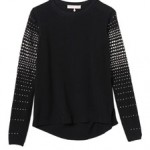 Rebecca Taylor Longsleeve Crew With Embellished Sleeves $325